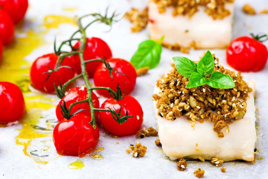 the baked fish with cherry tomato